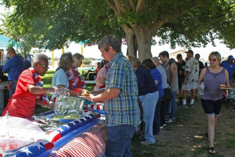 Robin Hebrock/Pahrump Valley Times This file photo shows Veterans Appreciation Barbecue attende ...