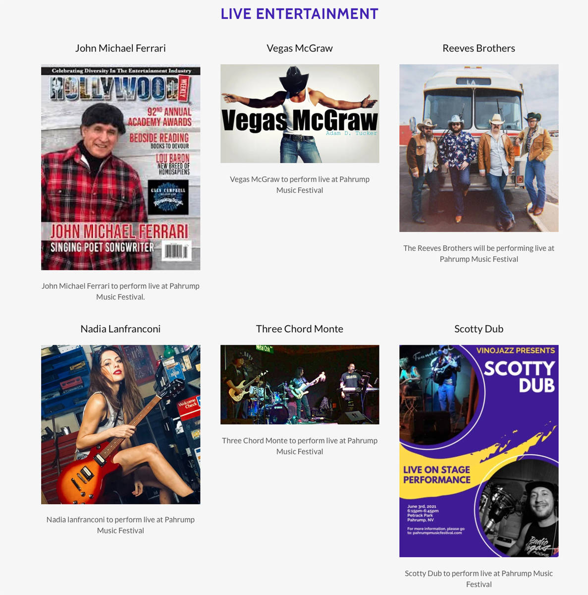 Screenshot This screenshot shows just a few of the notable musical entertainers that will take ...