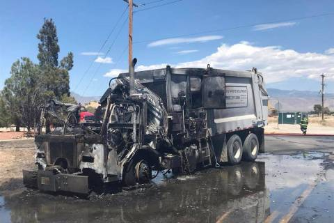 Nye County Sheriff's Office Pictured is a screenshot of a garbage truck fire that occurred on ...