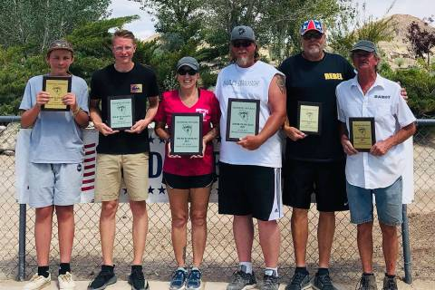 Special to the Pahrump Valley Times The top three teams from Sunday's Jim Butler Days doubles h ...