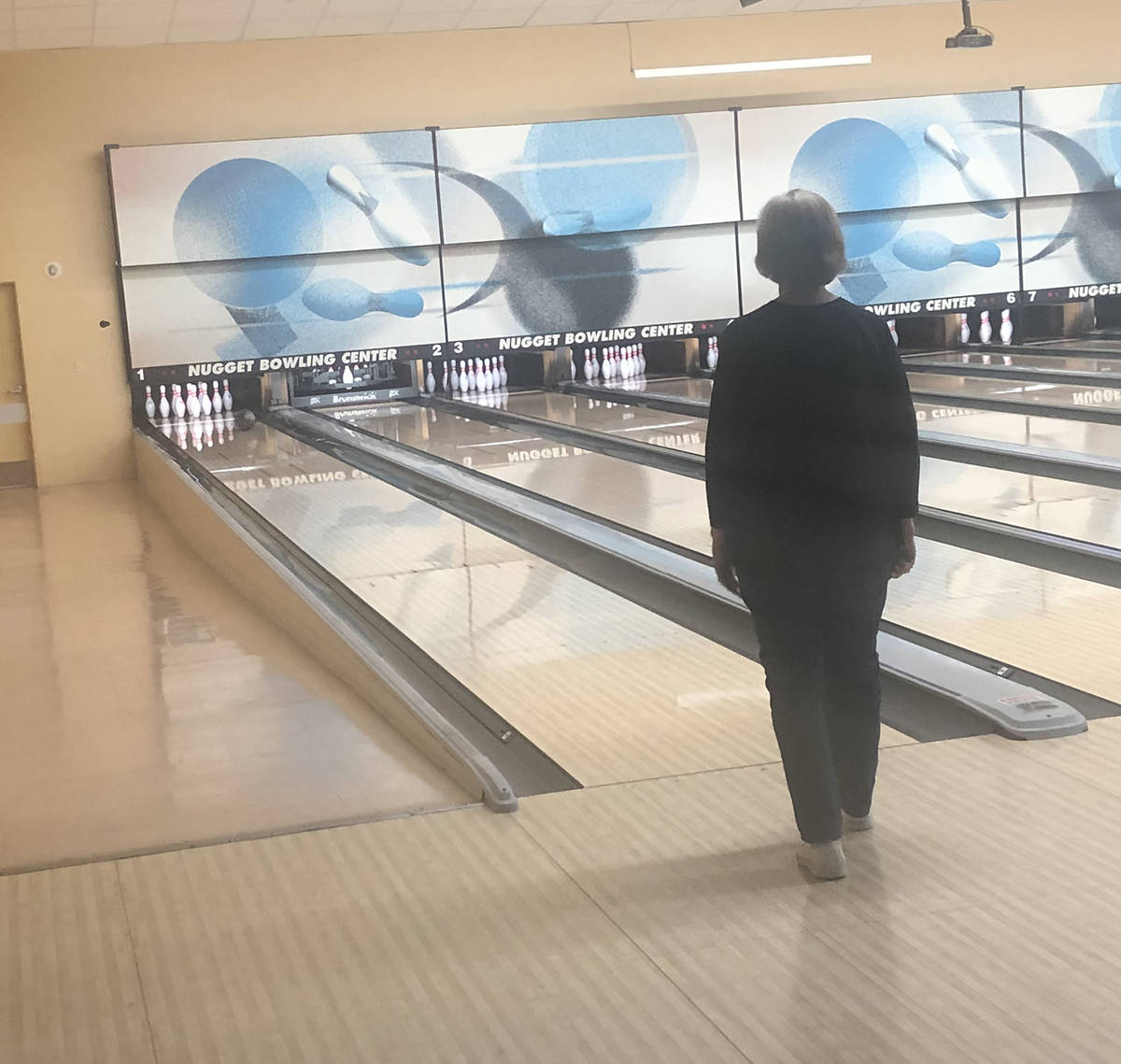 """Tom Rysinski/Pahrump Valley Times Marilyn """"Sis"""" Fronk watches her bowl approach the pins during ..."""