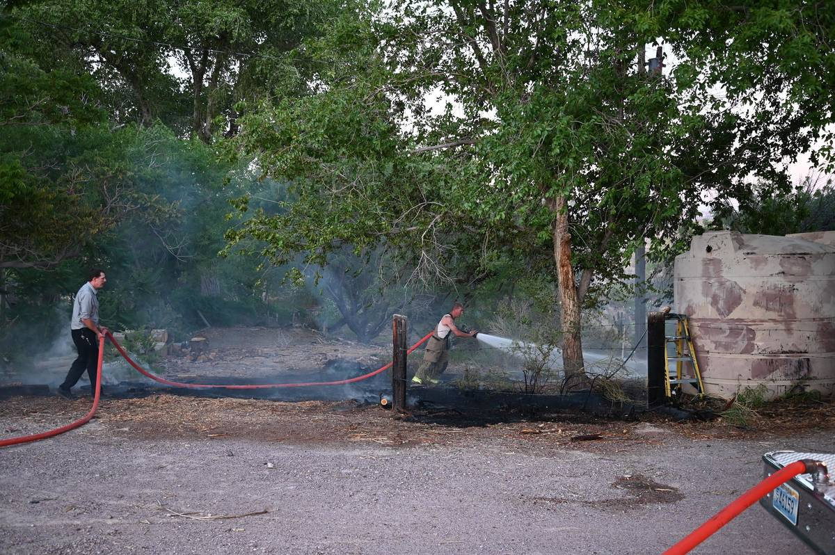 Richard Stephens/Special to the Pahrump Valley Times Beatty firemen were able to knock the blaz ...
