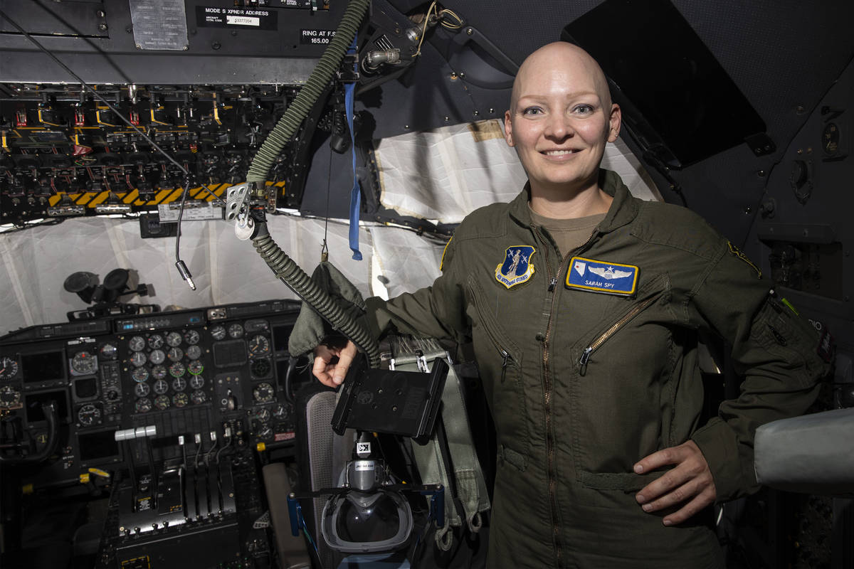 Maj. Sarah Spy, C-130 Hercules pilot for the 152nd Operations Group at the Nevada Air National ...