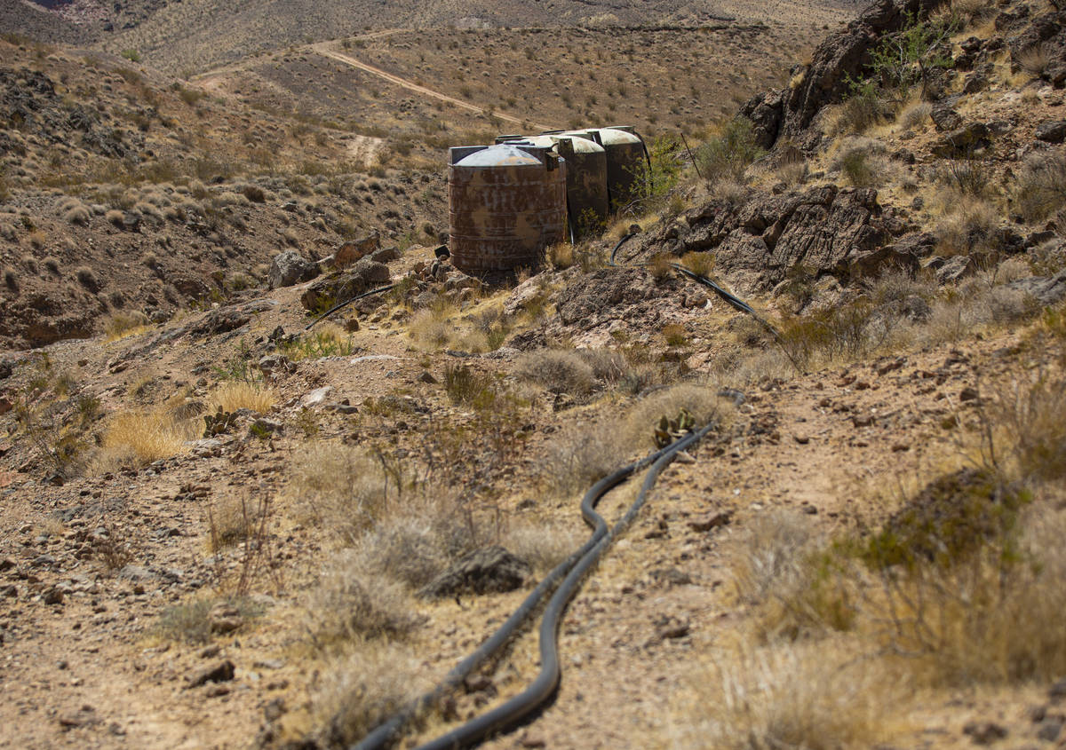 Old water guzzler tanks, which hold overflow water, are seen near the flipper guzzler in the Mu ...