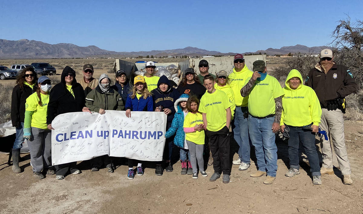 Special to Pahrump Valley Times This photo shows the Clean Up Pahrump team after a clean-up eve ...
