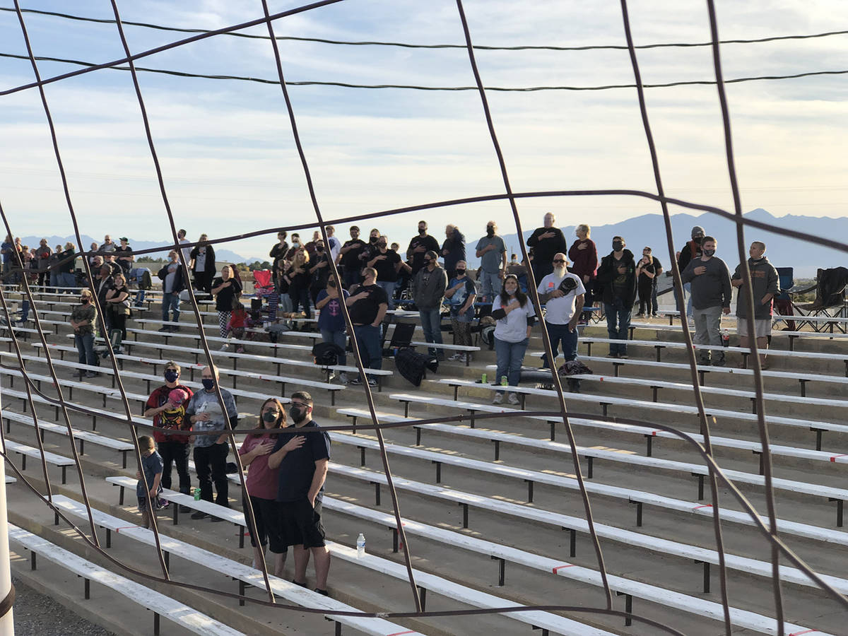 File Fans gather under pandemic restrictions last year at Pahrump Valley Speedway. It won't be ...