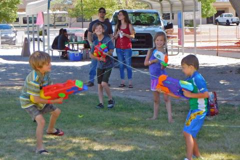 Robin Hebrock/Pahrump Valley Times The Wet Wild Water War took place at Petrack Park on Saturda ...