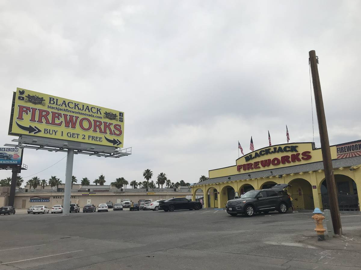 Robin Hebrock/Pahrump Valley Times Pictured is the Blackjack Fireworks store in Pahrump at 118 ...