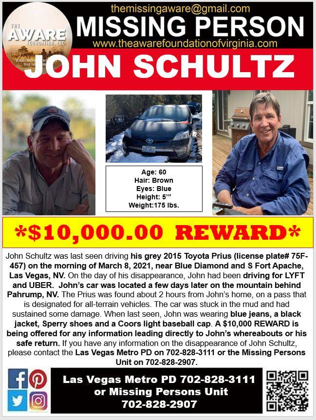 A flyer offering a $10,000 reward for information leading to the location or return of John Sch ...