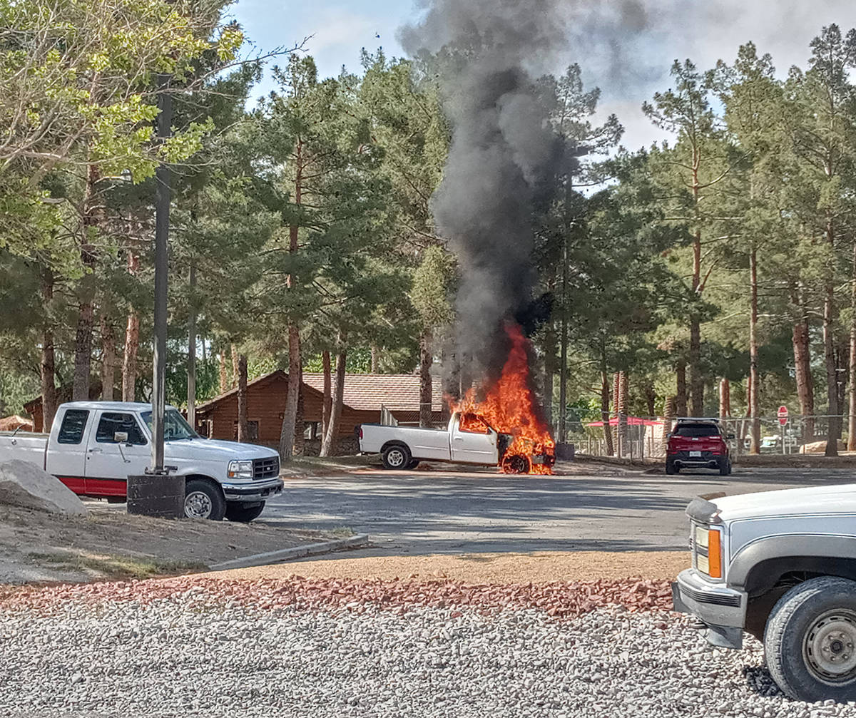 Selwyn Harris/Pahrump Valley Times Fire destroyed a pickup truck in the parking lot of the Lake ...