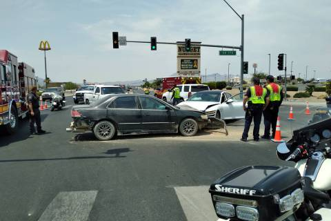 Selwyn Harris/Pahrump Valley Times A high-impact two-vehicle crash sent two people to Desert Vi ...