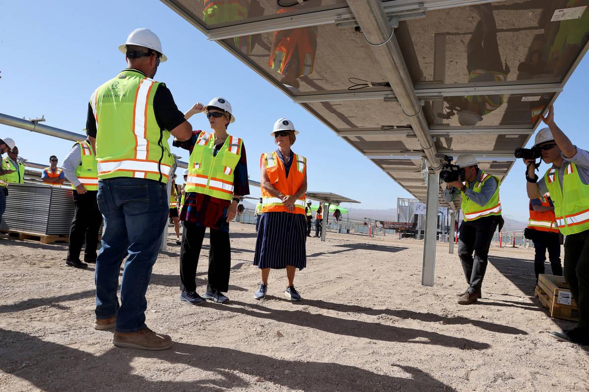 U.S. Energy Secretary Jennifer Granholm, second from left, and U.S. Rep. Susie Lee, D-Nev. tour ...