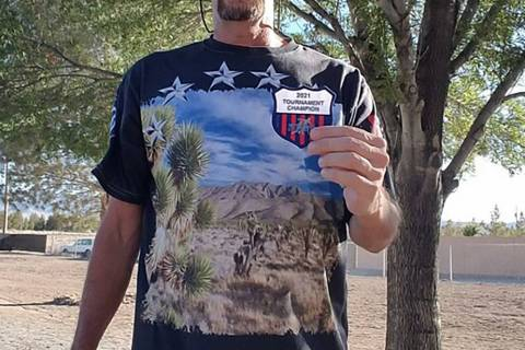 Lathan Dilger/Special to the Pahrump Valley Times Jim Hatch of Pahrump shows off his patch afte ...