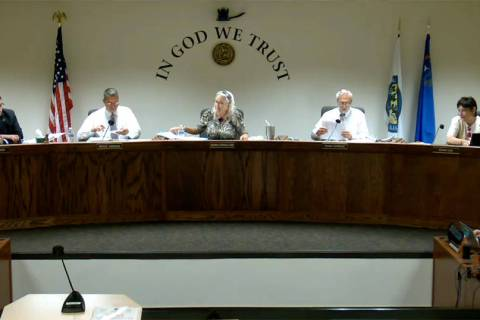 Screenshot The Nye County Commission voted to allow county staff and elected officials to forgo ...