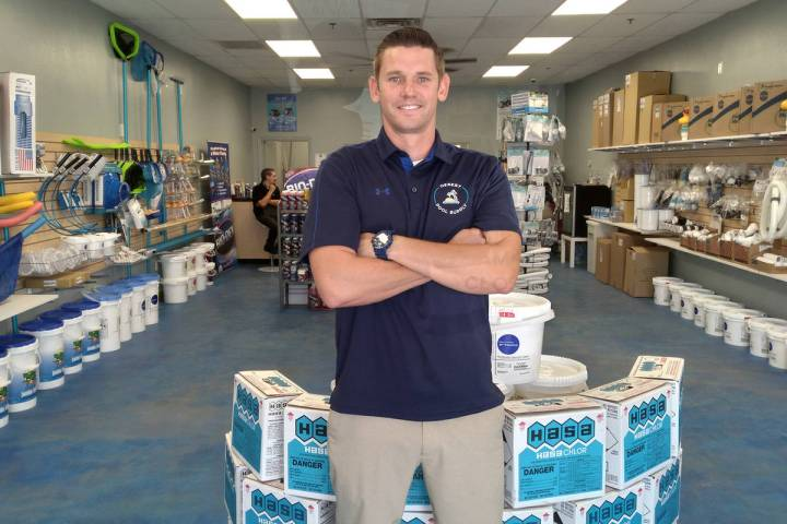 Selwyn Harris/Pahrump Valley Times Joel Oscarson, owner of Desert Pool Supply stocks supplies f ...