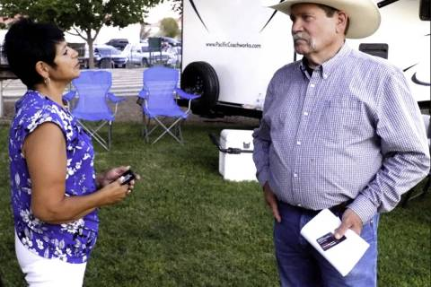 Vince Anton Photos/Special to the Pahrump Valley Times Diane Sauter is shown speaking with loca ...