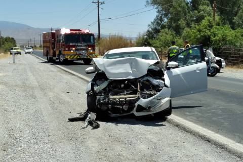 Selwyn Harris/Pahrump Valley Times One person was transported to Desert View Hospital following ...