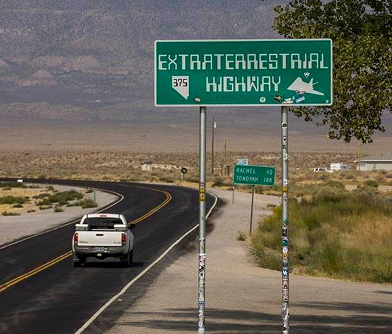 One of the Extraterrestrial Highway signs along S.R. 375 on Thursday, Sept. 17, 2020, in Hiko. ...