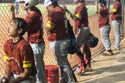 Tom Rysinski/Pahrump Valley Times Pahrump Valley Little League Junior all-stars cheer on teamma ...
