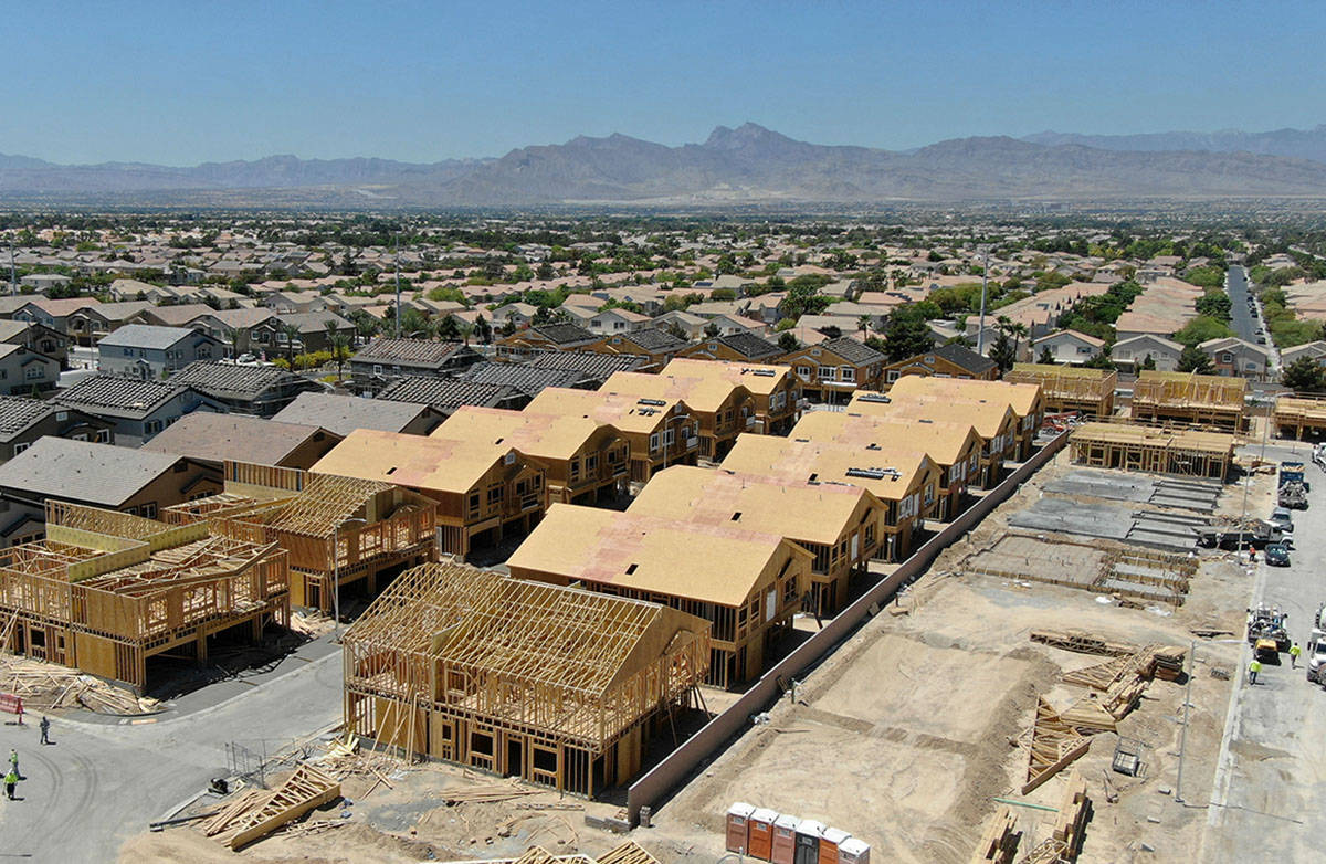 An aerial view of housing developments near North Decatur Boulevard and Farm Road in North Las ...