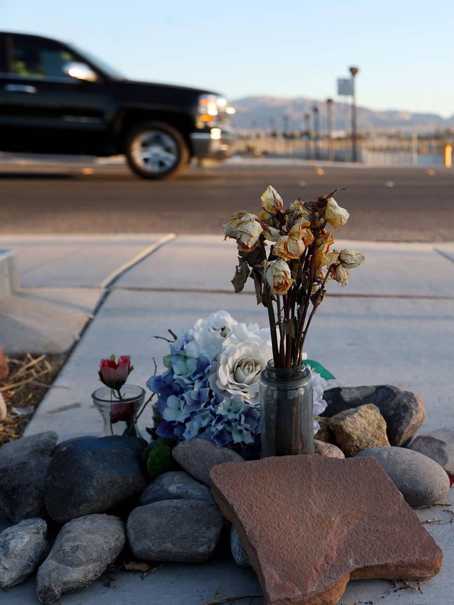 A memorial at a crosswalk on Lone Mountain Road near Losee Road in North Las Vegas Wednesday, M ...