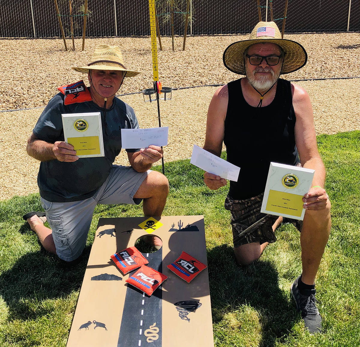 Special to the Pahrump Valley Times Mike Nicosia, left, and Lathan Dilger of Pahrump won the fi ...