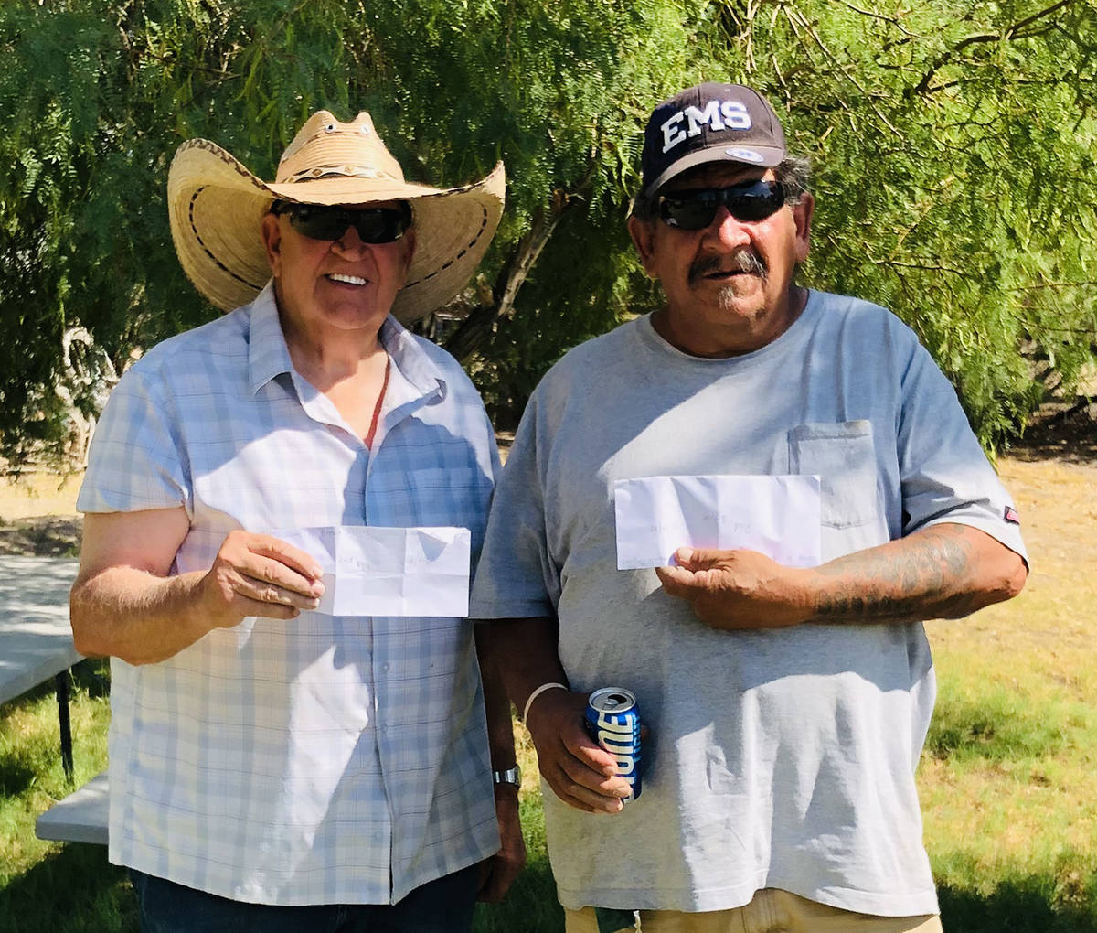 Lathan Dilger/Special to the Pahrump Valley Times Dennis Andersen, left, of Pahrump and Benny S ...