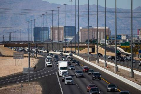 Motorists travel southbound on Interstate 15 in Las Vegas on Monday, May 31, 2021. (Chase Steve ...