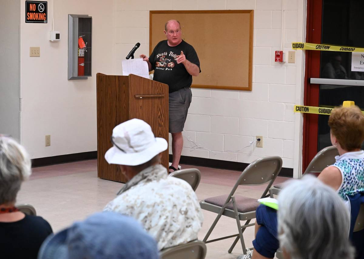 Richard Stephens/Special to the Pahrump Valley Times Beatty resident Charlie Lix airs a list o ...