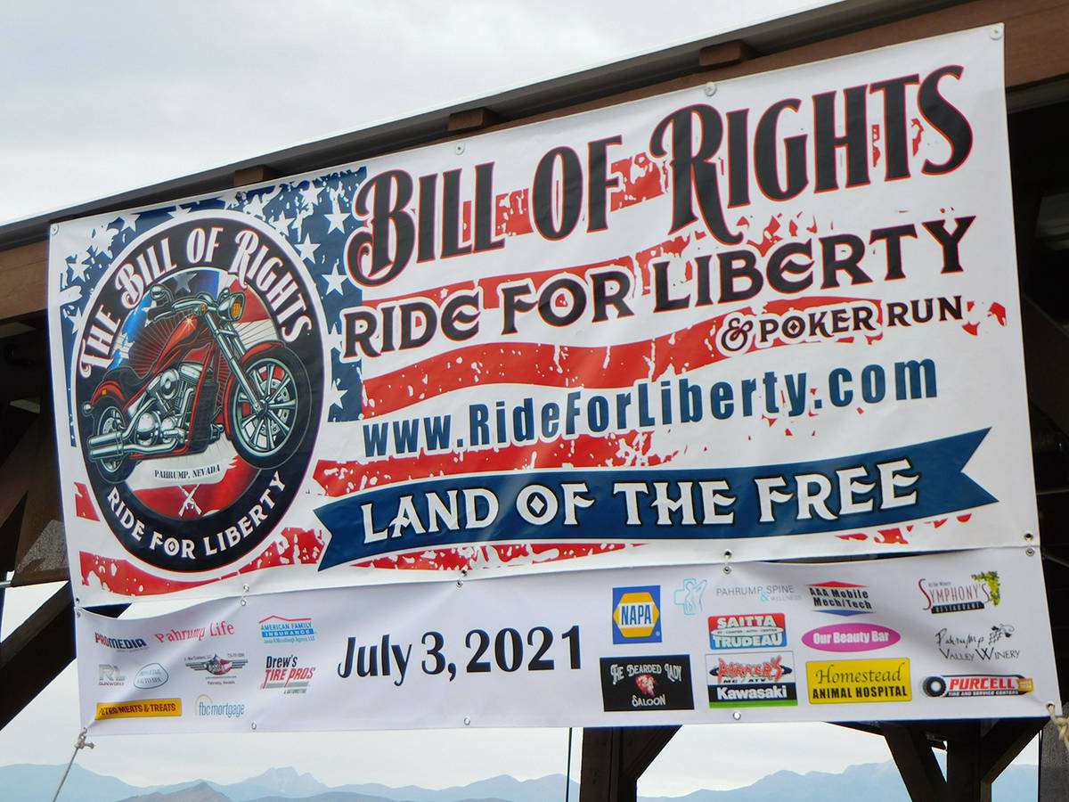 Robin Hebrock/Pahrump Valley Times The Ride 4 Liberty Poker Run banner proudly displayed the na ...
