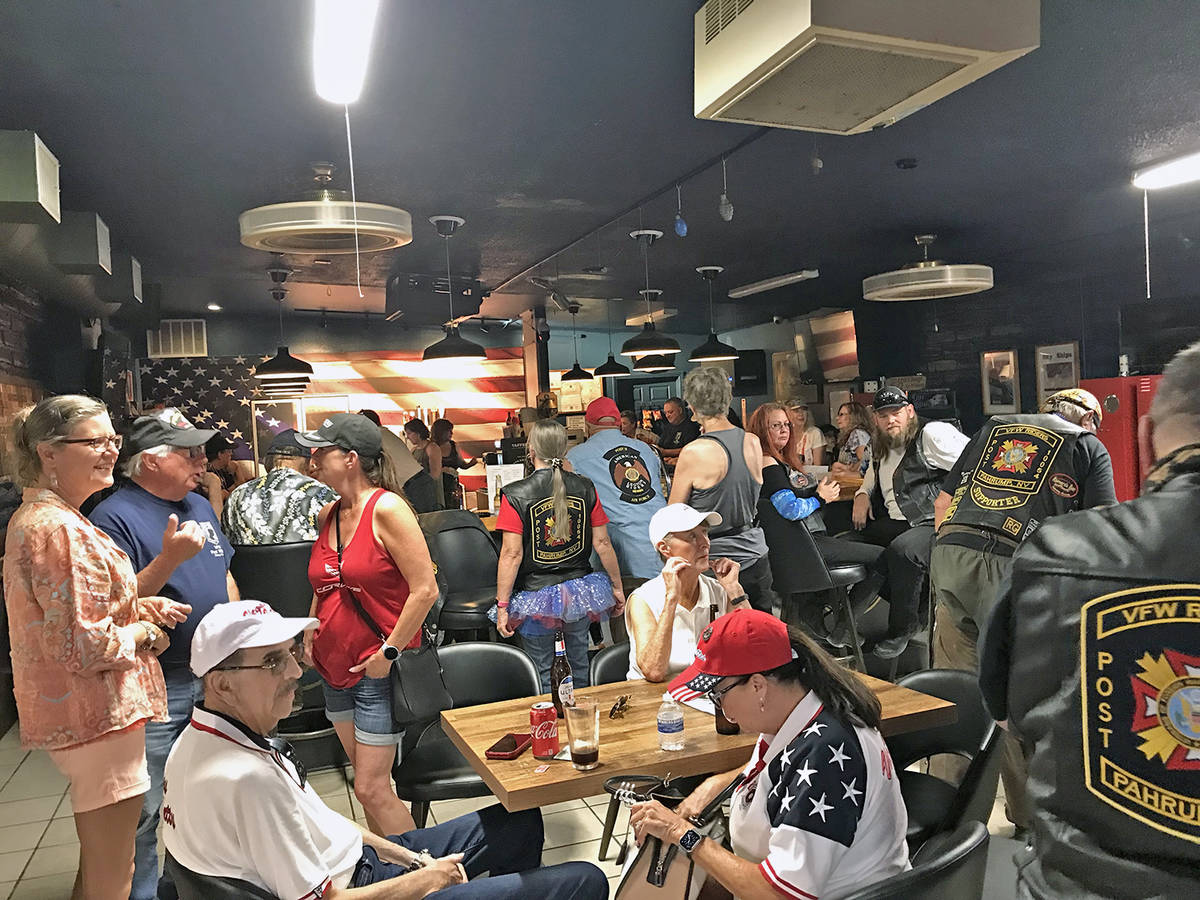 Robin Hebrock/Pahrump Valley Times Ride 4 Liberty Poker Run attendees are pictured at the after ...