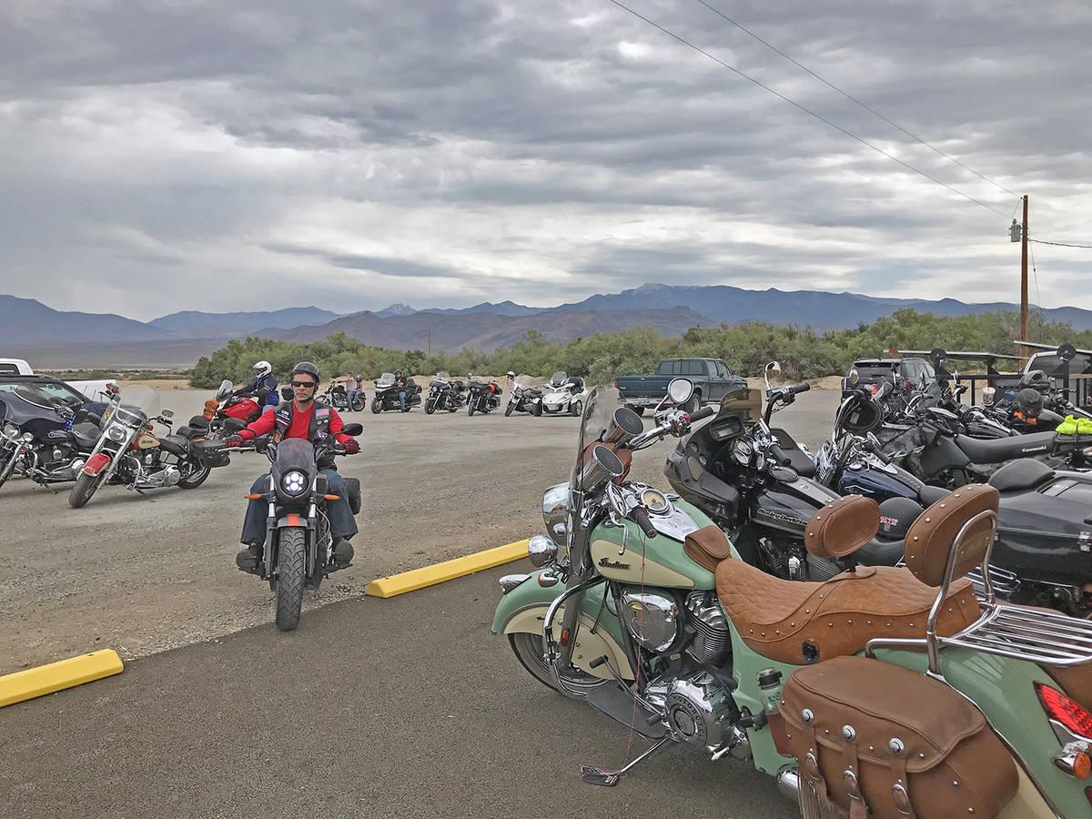 Robin Hebrock/Pahrump Valley Times Ride 4 Liberty Poker Run participants are seen driving into ...