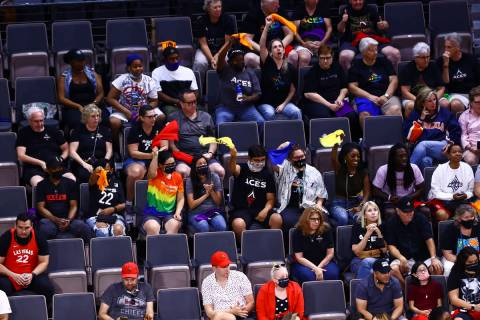 """Las Vegas Aces fans cheer during a """"Pride Night game"""" against Seattle Storm in the second quart ..."""
