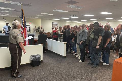 Photo courtesy of NCSO Nye County Sheriff Sharon Wehrly swears in more than two dozen area resi ...