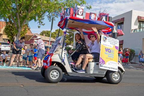 A cart promoting Vax Nevada Days drives through the two-day Damboree event on Saturday, July 3, ...