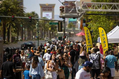 The Strip is packed during Memorial Day weekend on Saturday, May 29, 2021, in Las Vegas. (Benja ...
