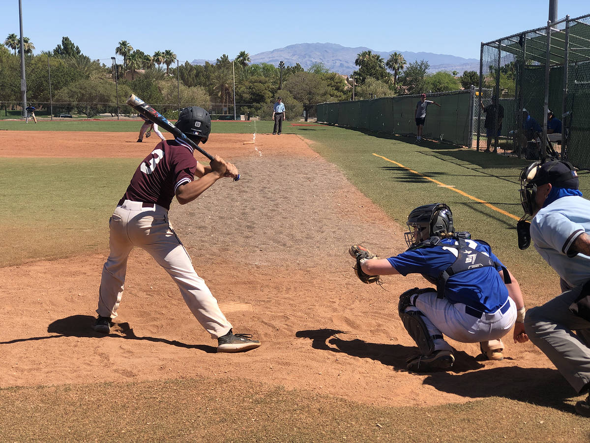 File photo Justyn Ybarra just before he doubled to the fence in left field as the Pahrump 18U t ...