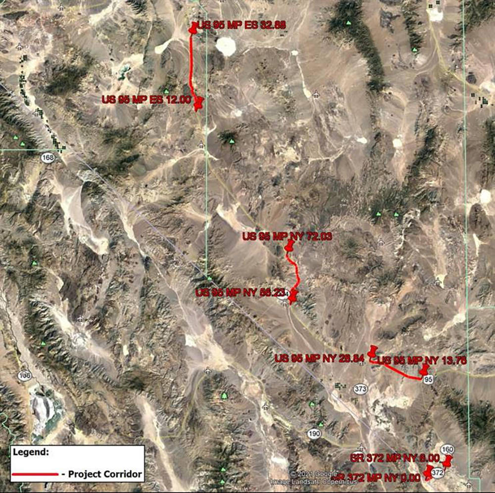 Special to the Pahrump Valley Times This map, provided by NDOT, shows the four sections of rura ...