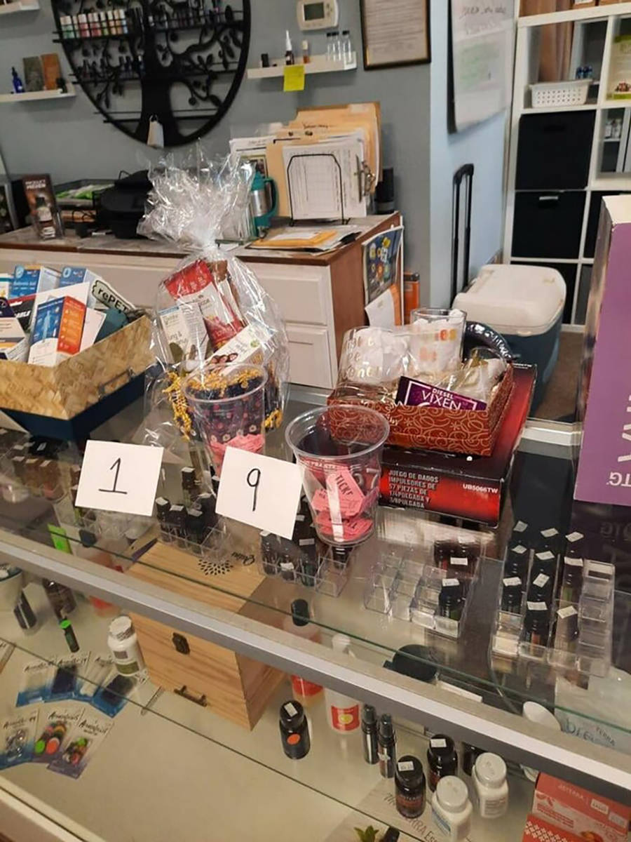 Special to the Pahrump Valley Times A variety of prizes were raffled off at the Natural Vibes G ...
