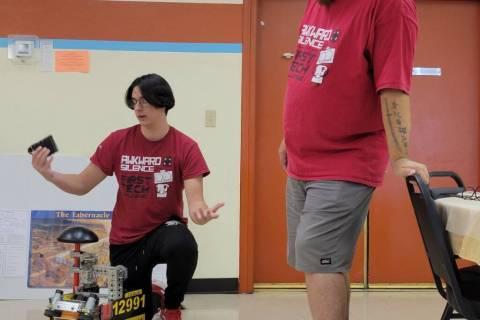 Alyssa Greenway/Special to the Pahrump Valley Times 4-H robotics team Awkward Silence demonstr ...
