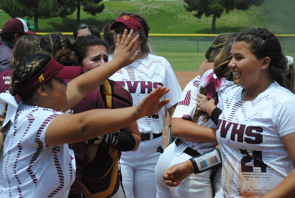 File photo Pahrump Valley High School softball players celebrate their 11-8 win over Fernley th ...