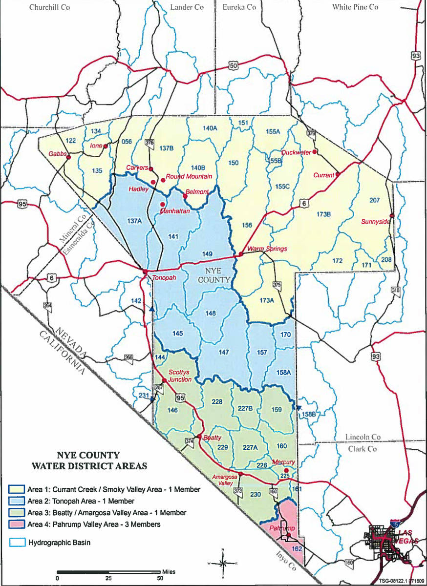 Special to the Pahrump Valley Times This map, provided on the Nye County Water District's websi ...