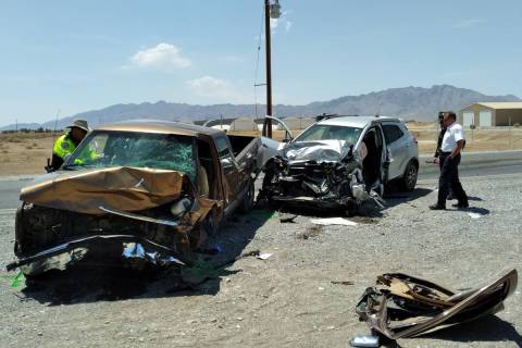 Selwyn Harris/Pahrump Valley Times One person has died following a two-vehicle collision along ...