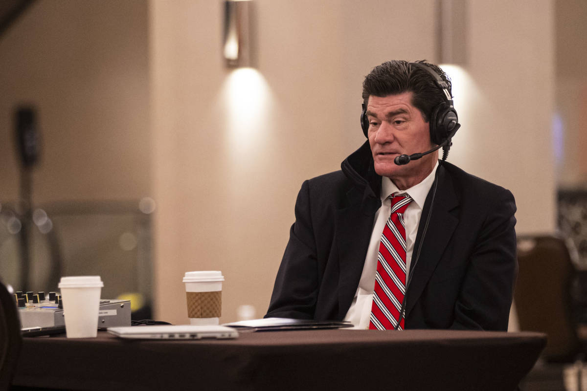 Mountain West Conference Commissioner Craig Thompson speaks during a radio interview at Mountai ...