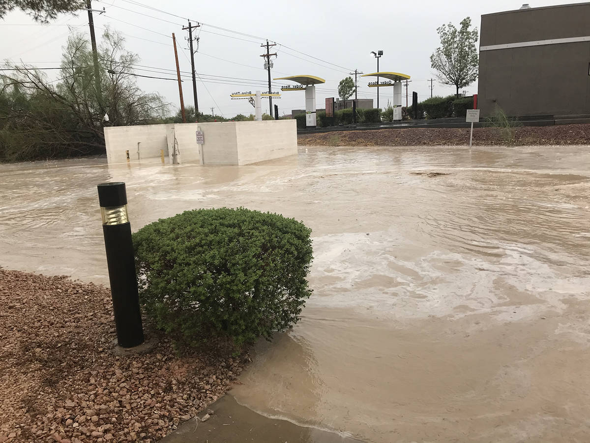 Special to the Pahrump Valley Times More flood waters can be seen accumulating in the Bank of A ...