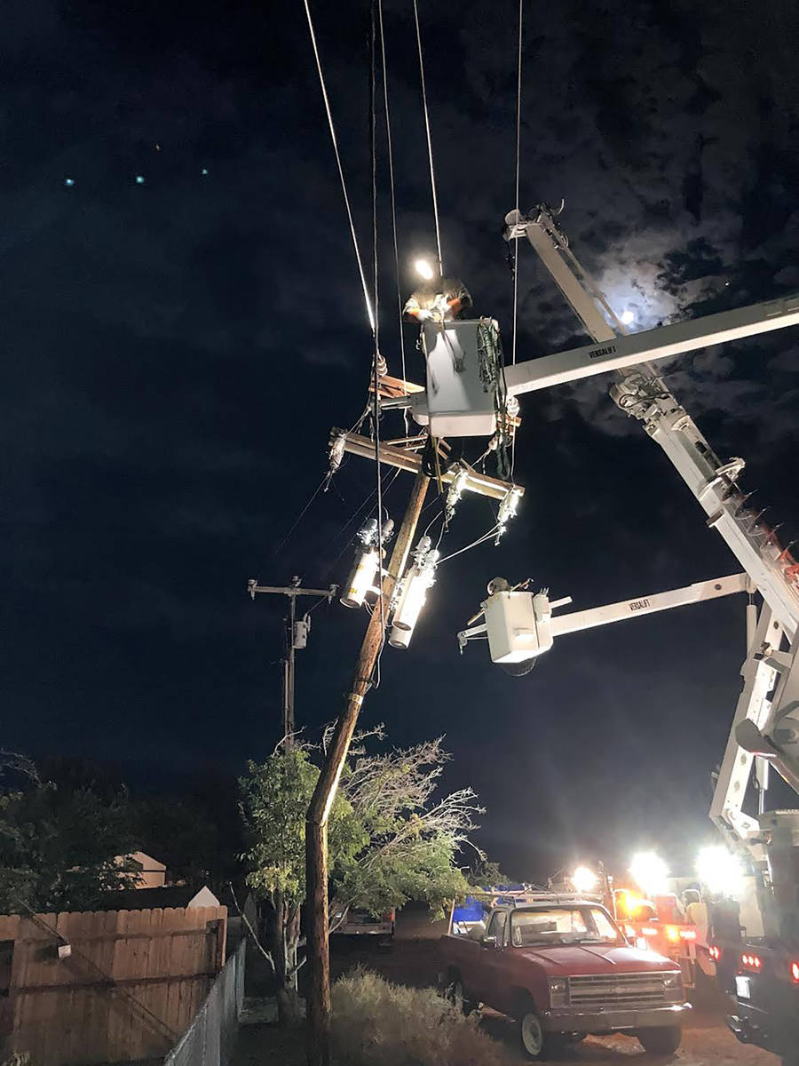 Special to the Pahrump Valley Times Also from Valley Electric, this photo shows a broken power ...