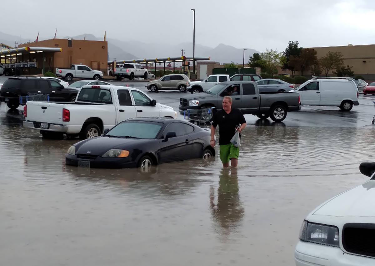 Selwyn Harris/Pahrump Valley Times Upon exiting Walmart on Monday, local resident Marcus Nix wa ...