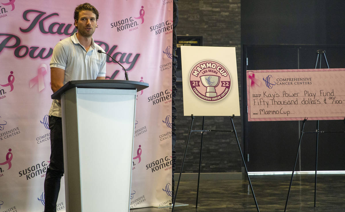 Vegas Golden Knights defenseman Shea Theodore reveals that he and the Comprehensive Cancer Cent ...