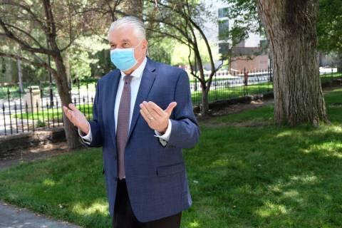 Bill Dentzer/Las Vegas Review-Journal Gov. Steve Sisolak reinstituted the mask mandate startgin ...