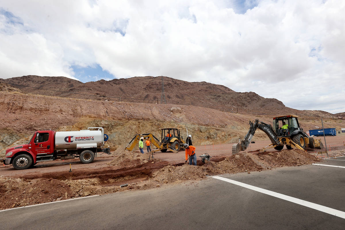 Workers prepare footings for a new hotel tower at Railroad Pass casino in Henderson Monday, Jul ...